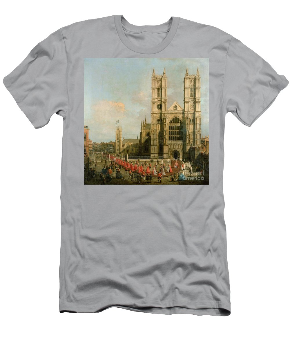 Canaletto Men's T-Shirt (Athletic Fit) featuring the painting Procession Of The Knights Of The Bath by Canaletto