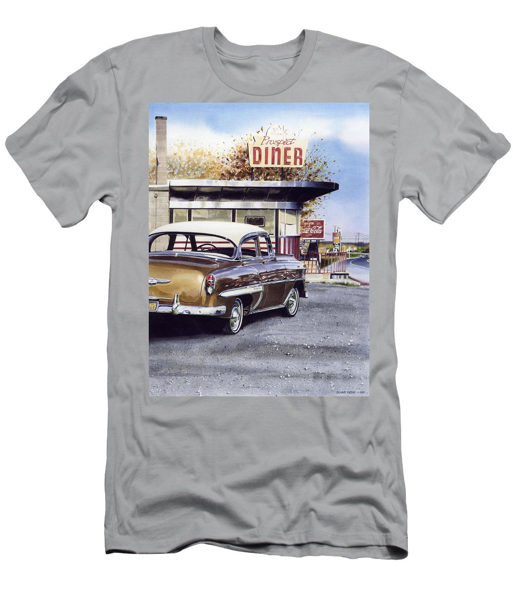 Diner Men's T-Shirt (Athletic Fit) featuring the painting Prospect Diner by Denny Bond