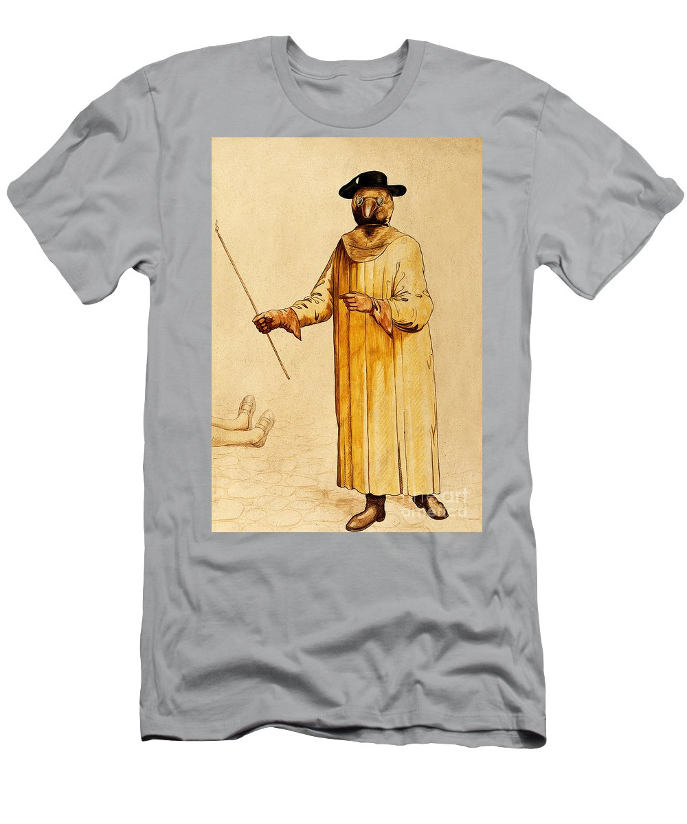 Historic Men's T-Shirt (Athletic Fit) featuring the photograph Protective Suit For Plague, 17th Century by Wellcome Images