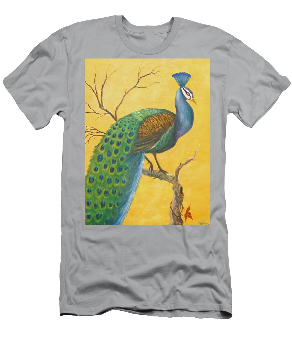 Peacock; Birds; Fall Leaves Men's T-Shirt (Athletic Fit) featuring the painting Proud As A Peacock by Ben Kiger