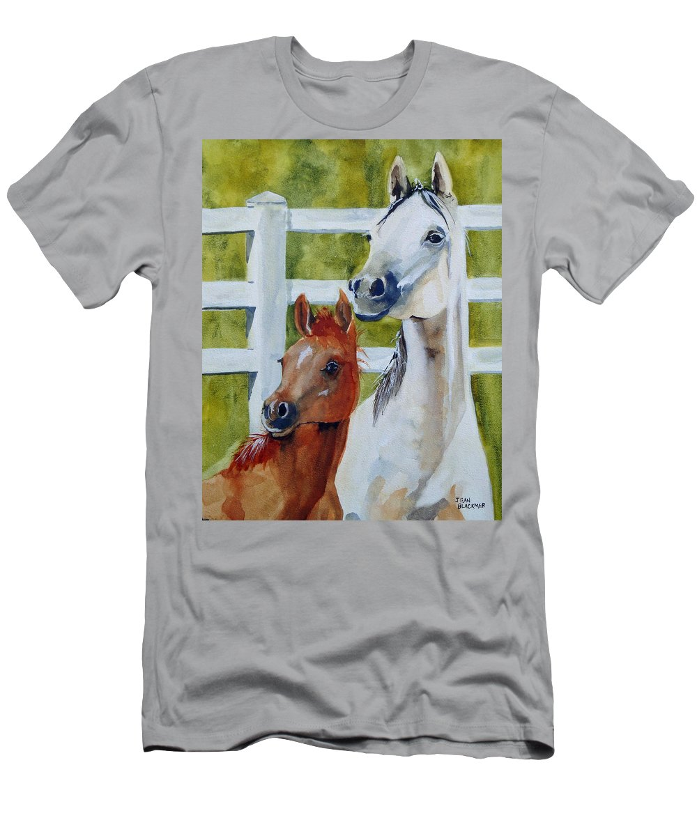 Equine T-Shirt featuring the painting Proud Mama by Jean Blackmer