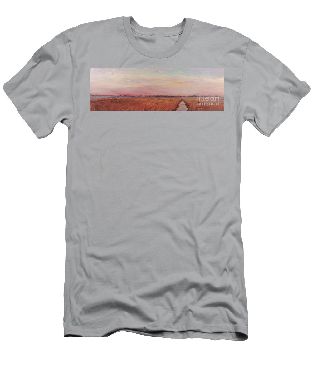 Landscape Men's T-Shirt (Athletic Fit) featuring the painting Provence Camargue by Nadine Rippelmeyer