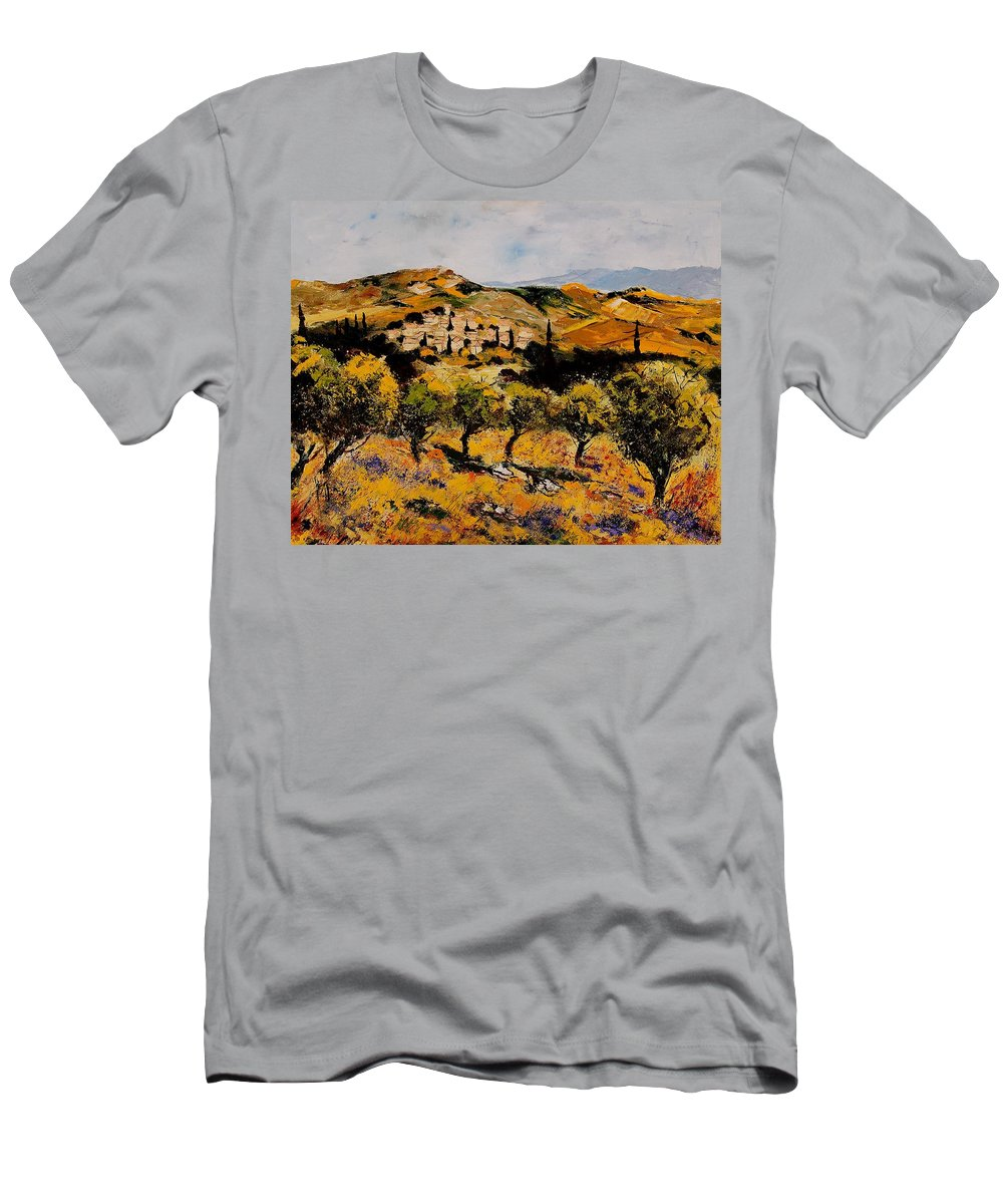 Provence Men's T-Shirt (Athletic Fit) featuring the painting Provence10080 by Pol Ledent