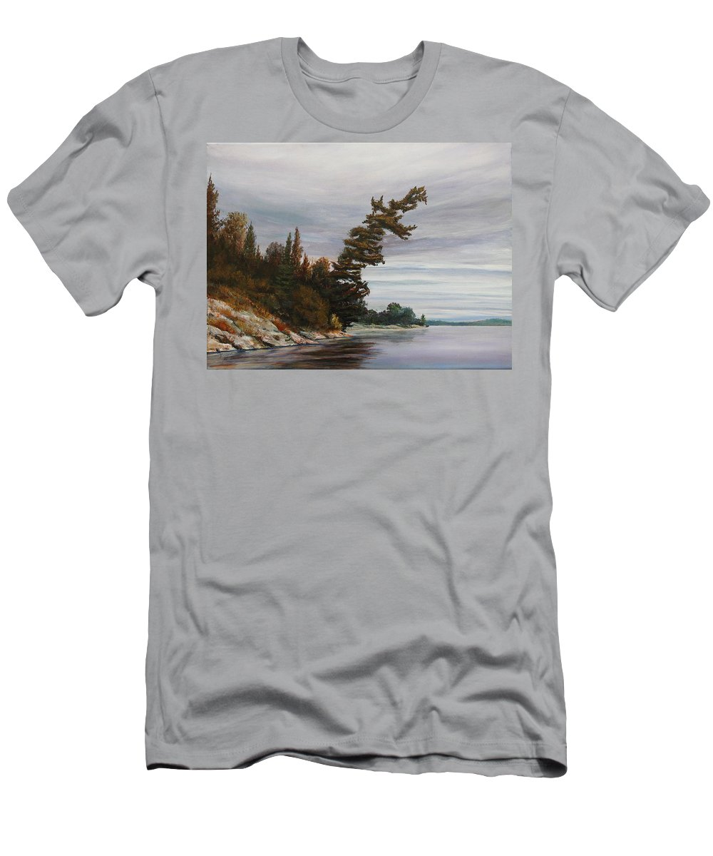 Landscape Men's T-Shirt (Athletic Fit) featuring the painting Ptarmigan Bay by Ruth Kamenev