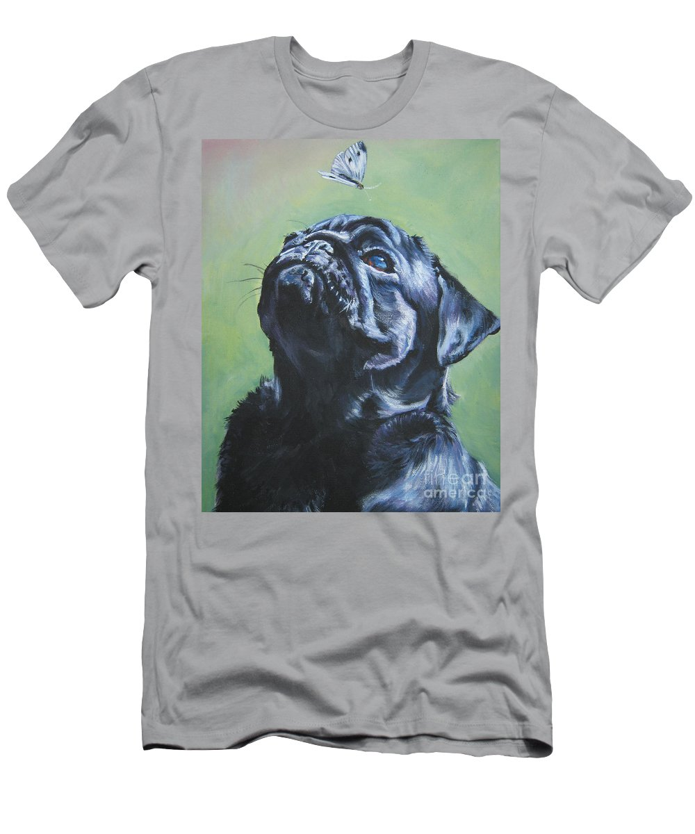 Dog Men's T-Shirt (Athletic Fit) featuring the painting Pug Black by Lee Ann Shepard
