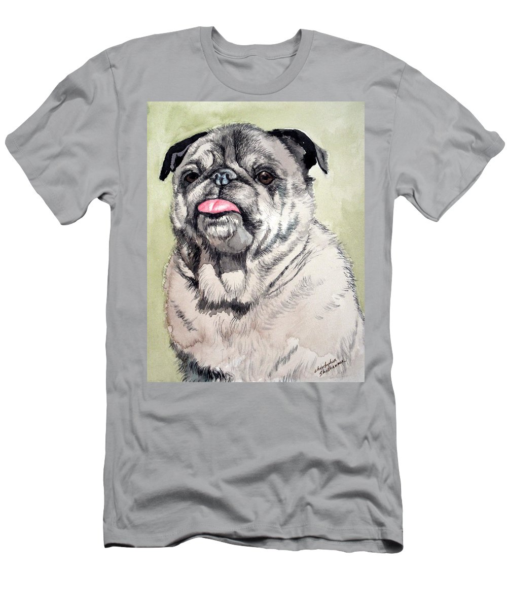 Dog Men's T-Shirt (Athletic Fit) featuring the painting Pug by Christopher Shellhammer