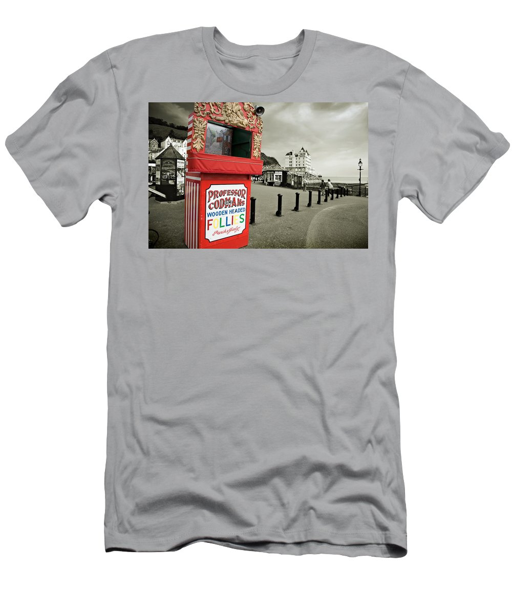 Punch And Judy Men's T-Shirt (Athletic Fit) featuring the photograph Punch And Judy Theatre On Llandudno Promenade by Mal Bray