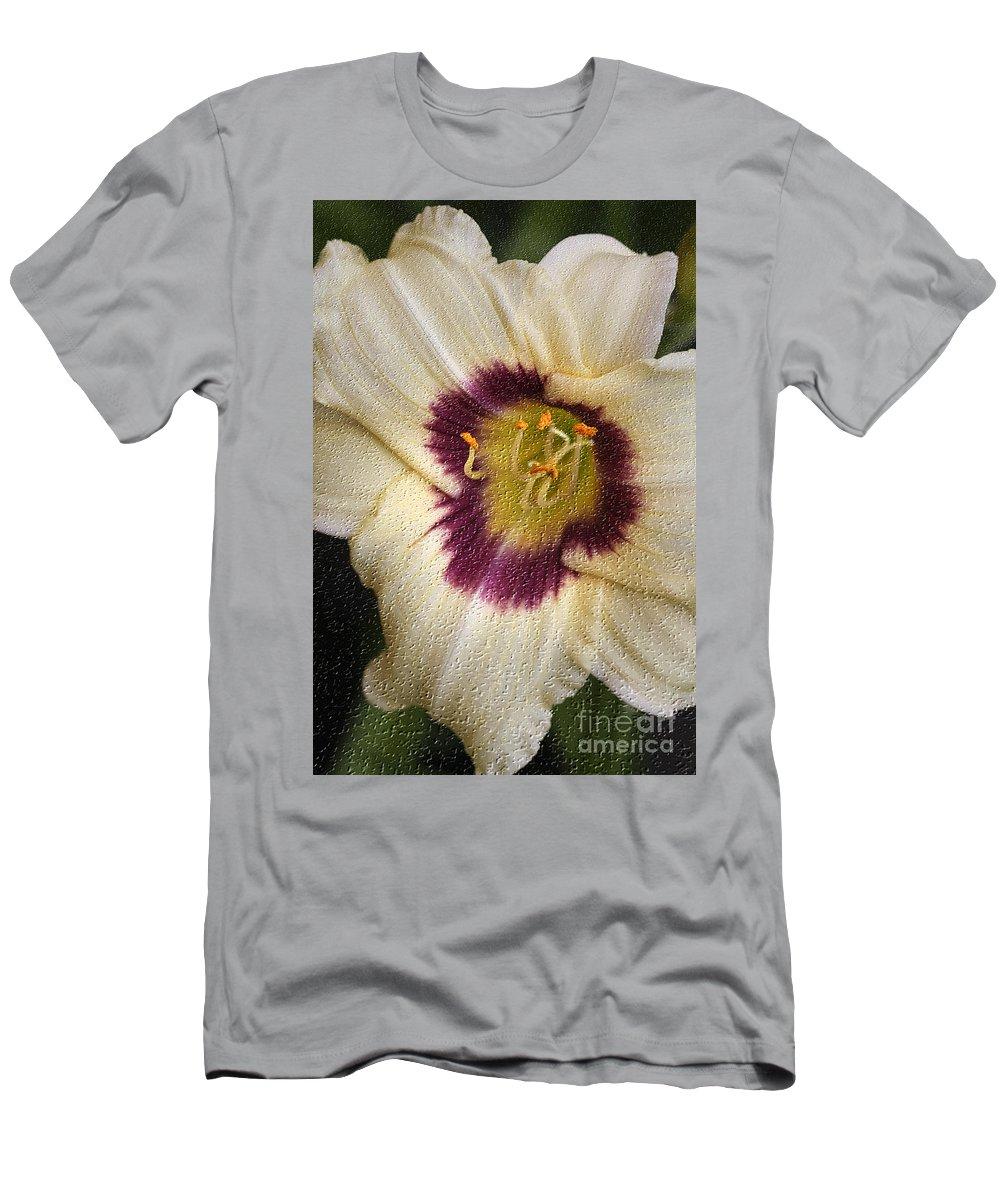 Lilly Men's T-Shirt (Athletic Fit) featuring the digital art Purple Center by Deborah Benoit