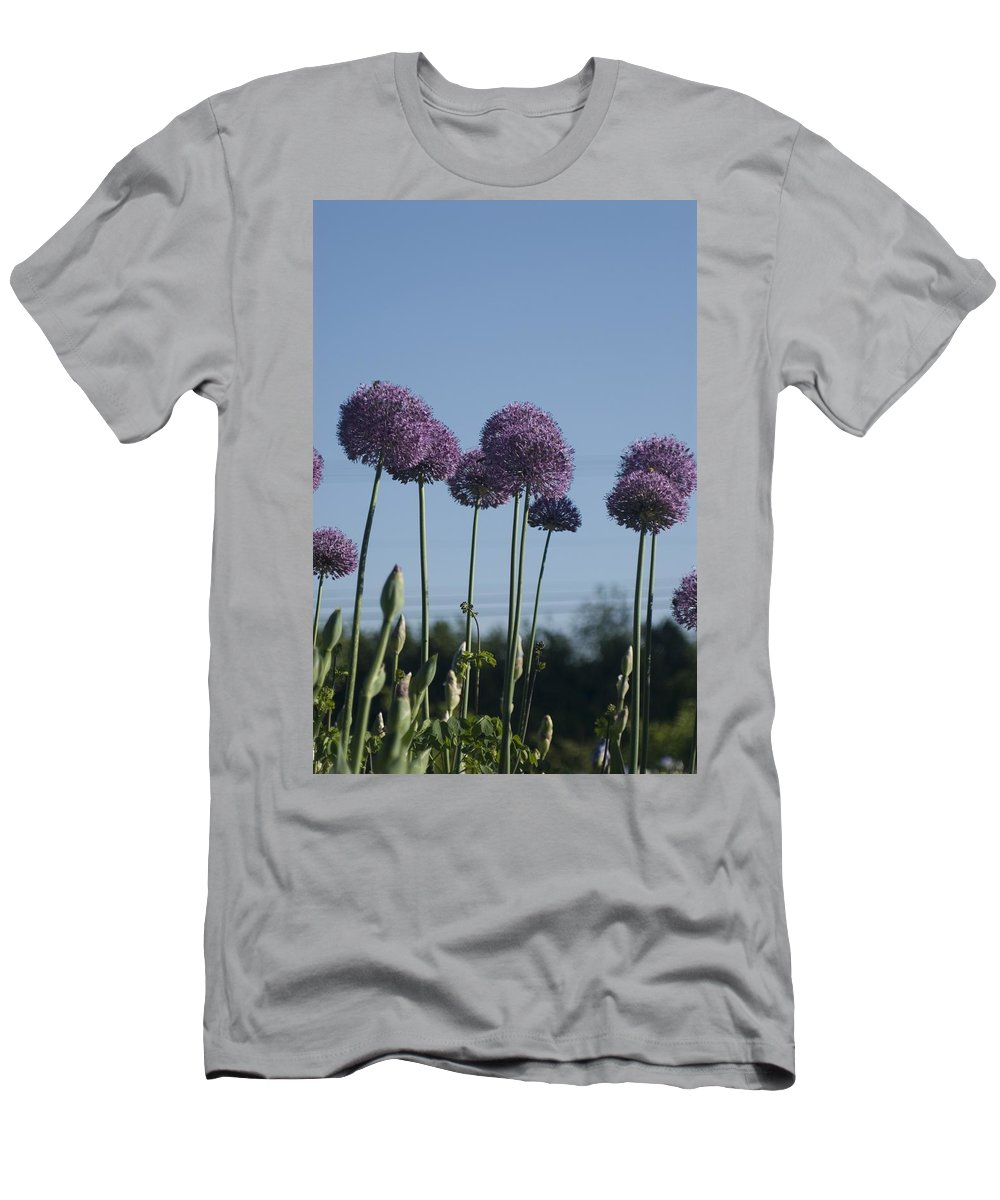 Flower Men's T-Shirt (Athletic Fit) featuring the photograph Purple Flowers by Sara Stevenson