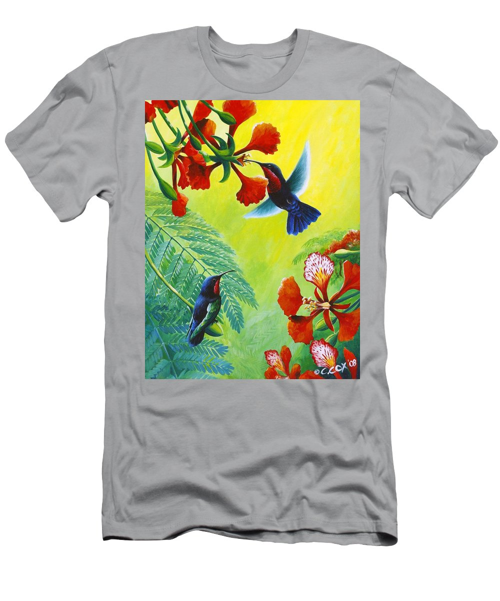 Chris Cox T-Shirt featuring the painting Purple-throated Caribs and Flamboyant by Christopher Cox