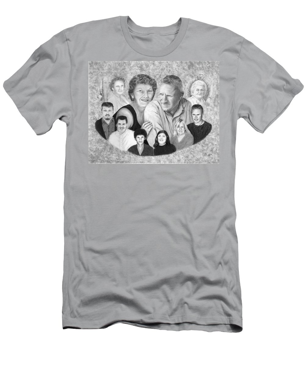 Family Portrait Men's T-Shirt (Athletic Fit) featuring the drawing Quade Family Portrait by Peter Piatt