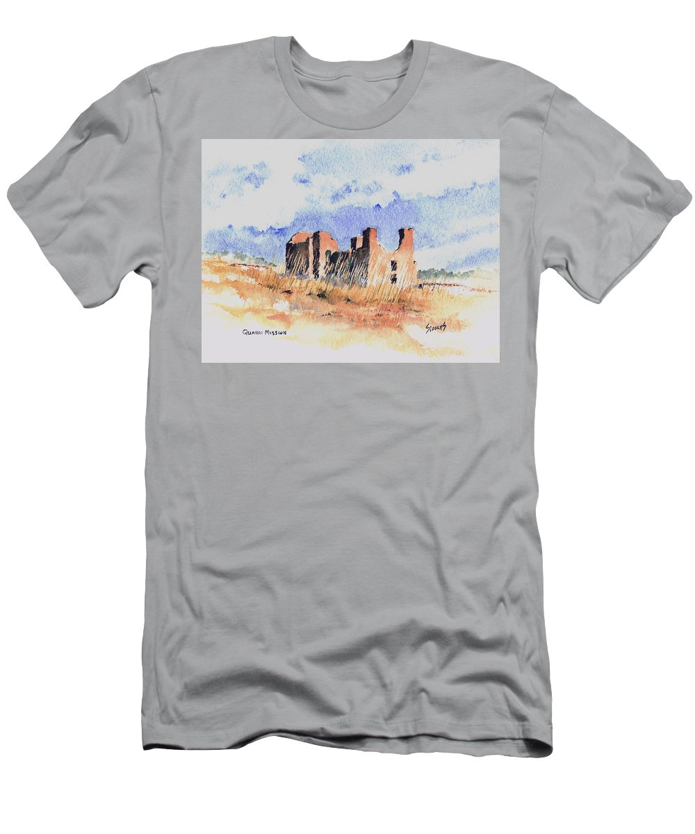 New Mexico Men's T-Shirt (Athletic Fit) featuring the painting Quarari Mission by Sam Sidders