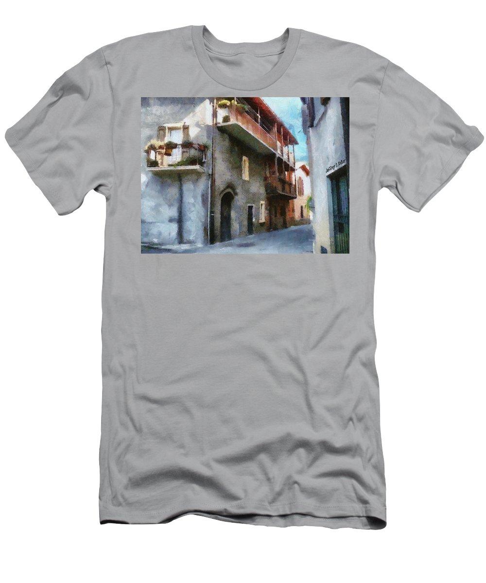Almenno San Salvatore Men's T-Shirt (Athletic Fit) featuring the painting Quiet In Almenno San Salvatore by Jeffrey Kolker
