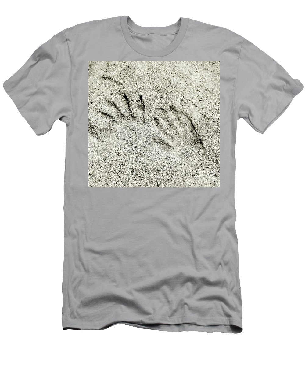 Raccoon Men's T-Shirt (Athletic Fit) featuring the photograph Racoon Tracks At The River by Scott D Van Osdol