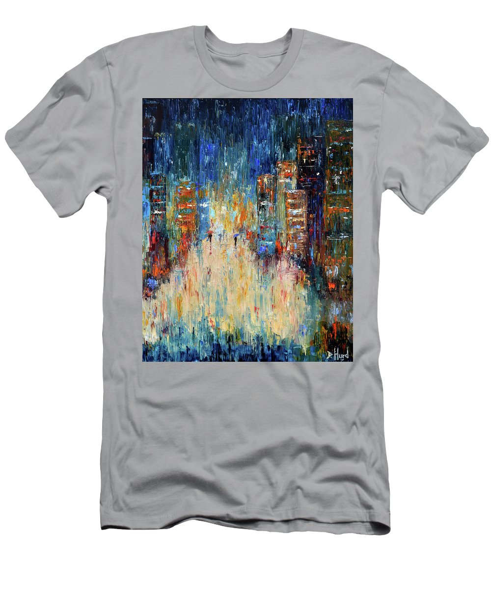 Abstract Painting Men's T-Shirt (Athletic Fit) featuring the painting Rain Dance Blues by Debra Hurd