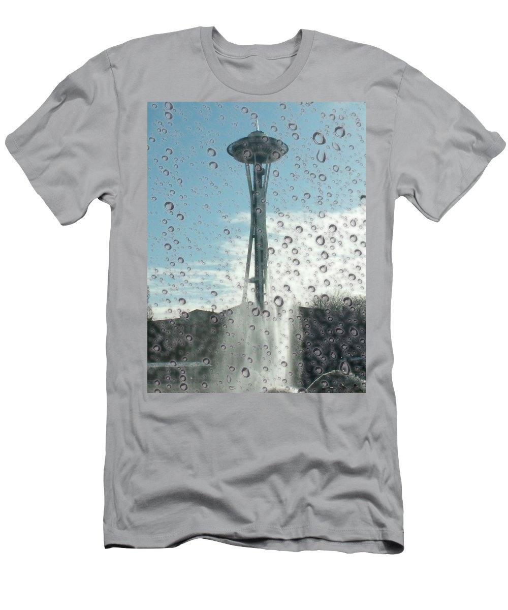 Seattle Men's T-Shirt (Athletic Fit) featuring the photograph Rainy Window Needle by Tim Allen