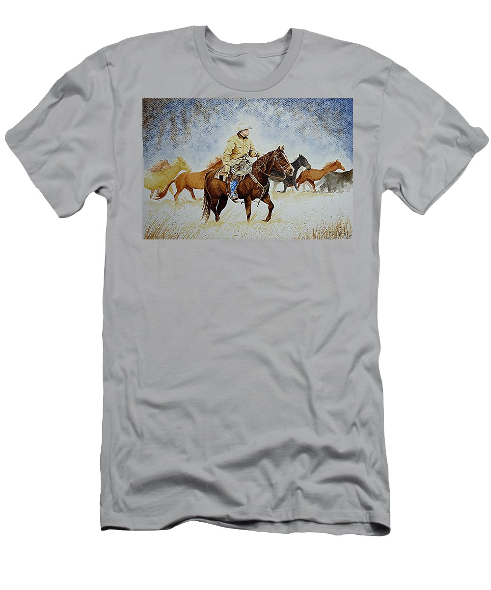 Art Men's T-Shirt (Athletic Fit) featuring the painting Ranch Rider by Jimmy Smith