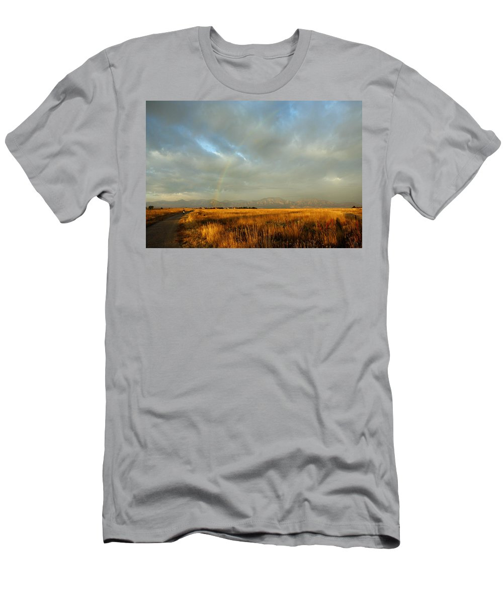 Rain Men's T-Shirt (Athletic Fit) featuring the photograph rare Morning Rainbow by Marilyn Hunt
