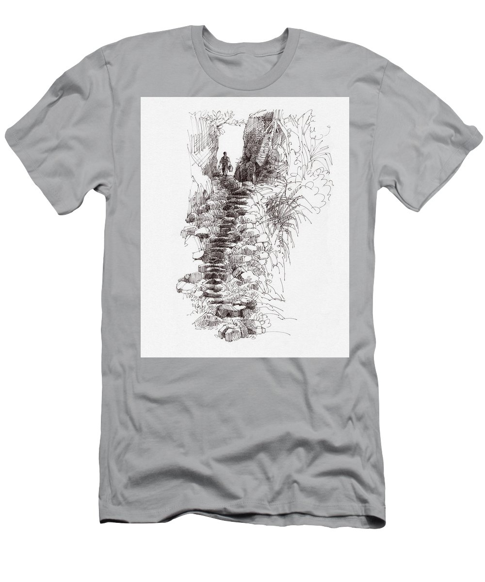 Landscape Men's T-Shirt (Athletic Fit) featuring the drawing Rat Road by Judith Kunzle