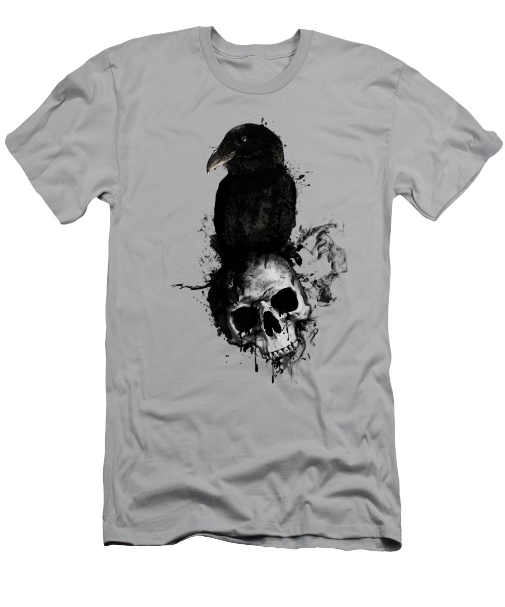 Raven Men's T-Shirt (Athletic Fit) featuring the mixed media Raven And Skull by Nicklas Gustafsson
