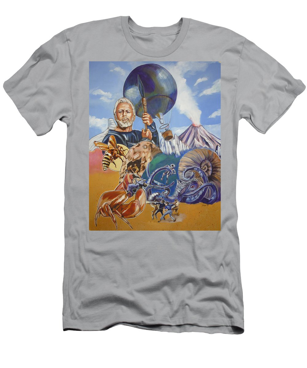 Mysterious Island Men's T-Shirt (Athletic Fit) featuring the painting Ray Harryhausen Tribute The Mysterious Island by Bryan Bustard