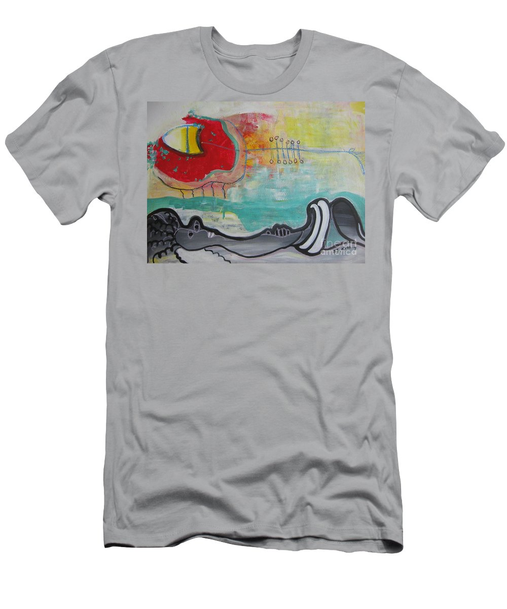 Red Paintings Men's T-Shirt (Athletic Fit) featuring the painting Read My Mind1 by Seon-Jeong Kim