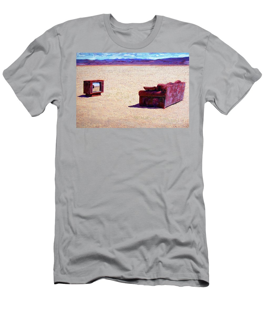 Desert Men's T-Shirt (Athletic Fit) featuring the painting Reality T V by Dominic Piperata