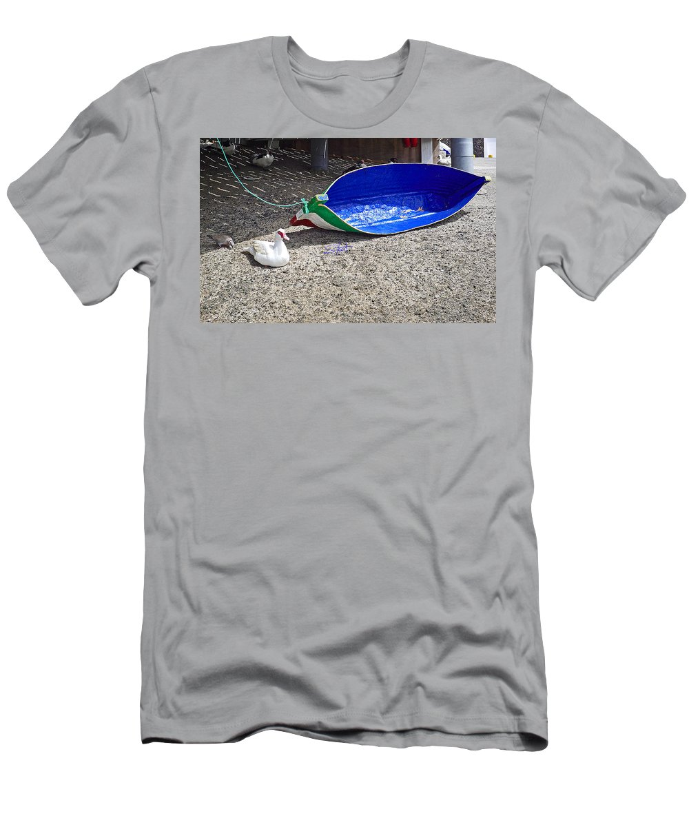 Boat Men's T-Shirt (Athletic Fit) featuring the photograph Recycled Oil Drum On Hard by Charles Stuart