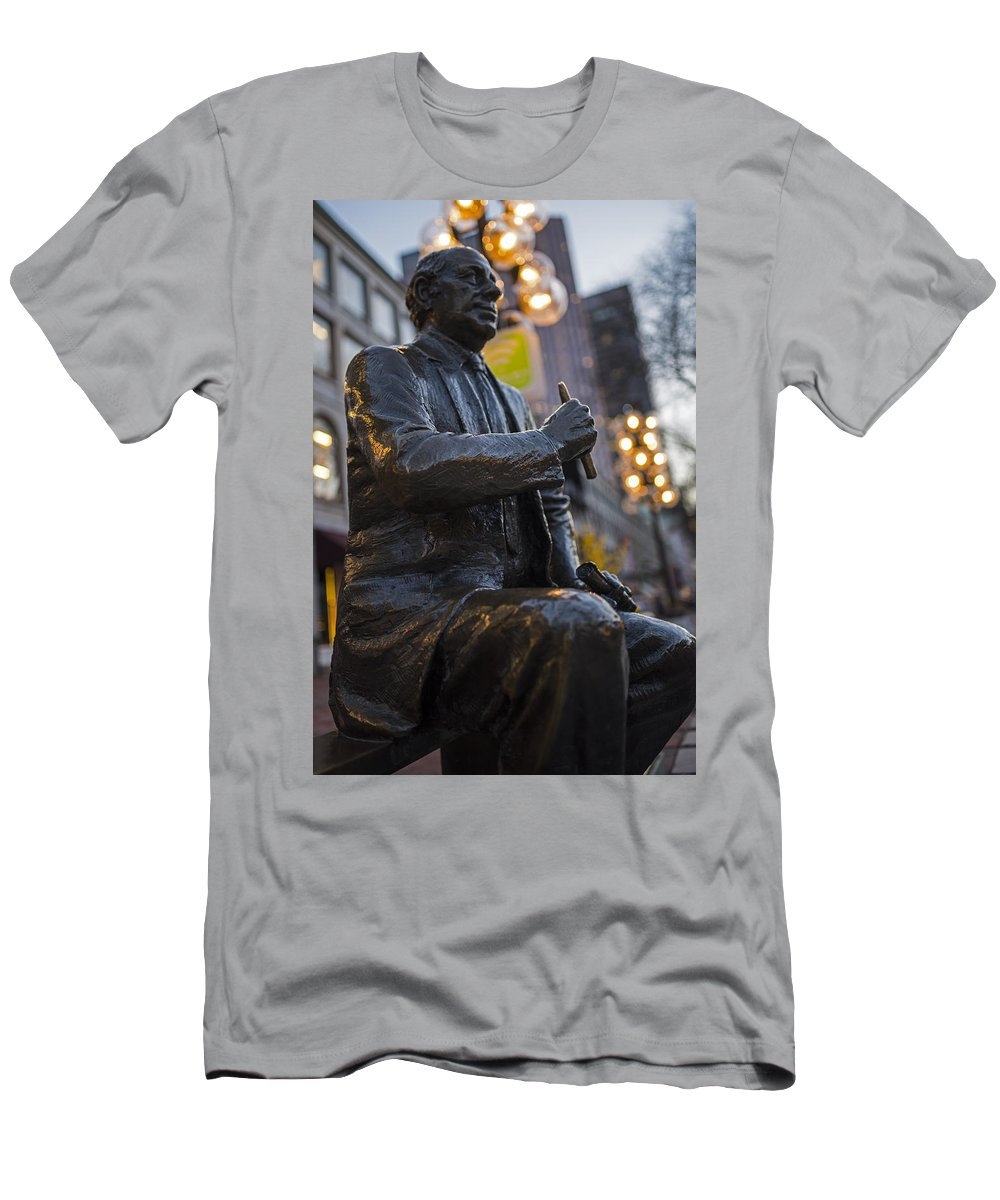 Boston Men's T-Shirt (Athletic Fit) featuring the photograph Red Auerbach Chilling At Fanueil Hall Side by Toby McGuire