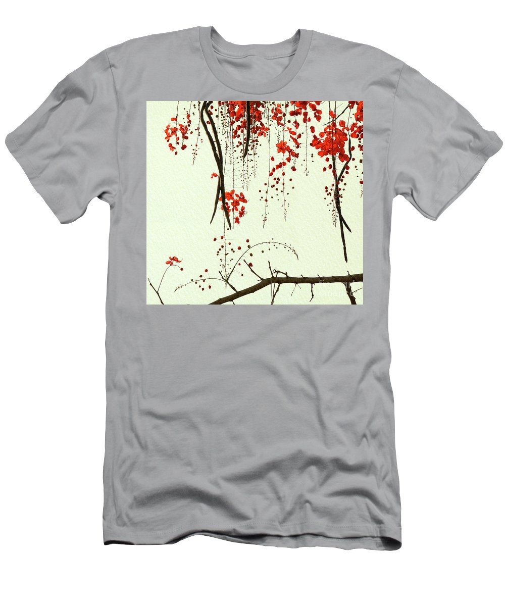 Flower Men's T-Shirt (Athletic Fit) featuring the digital art Red Blossom Tree On Handmade Paper by Lucy Baldwin