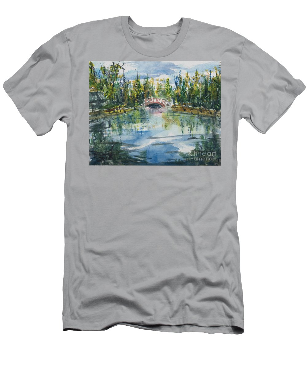 Ozarks Men's T-Shirt (Athletic Fit) featuring the painting Red Bridge On Lake In The Ozarks by Reed Novotny