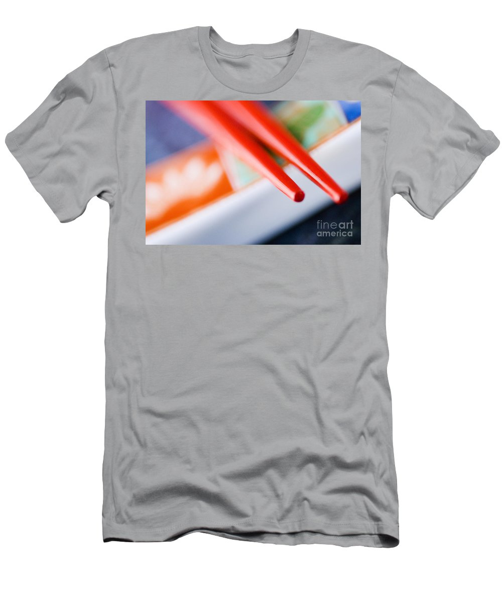 Asian Men's T-Shirt (Athletic Fit) featuring the photograph Red Chopsticks by Ray Laskowitz - Printscapes
