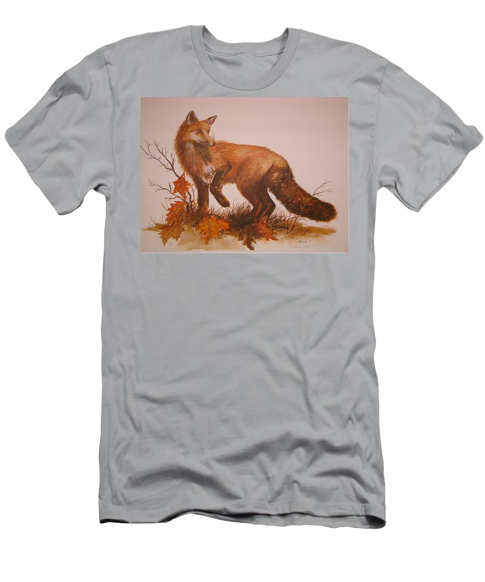 Nature Men's T-Shirt (Athletic Fit) featuring the painting Red Fox by Ben Kiger
