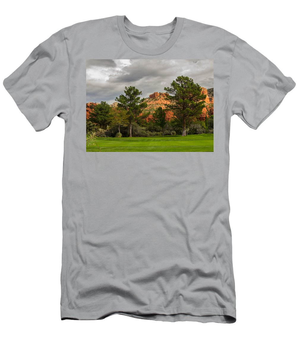 Fairway Men's T-Shirt (Athletic Fit) featuring the photograph Red Rock Fairway by Susan Westervelt