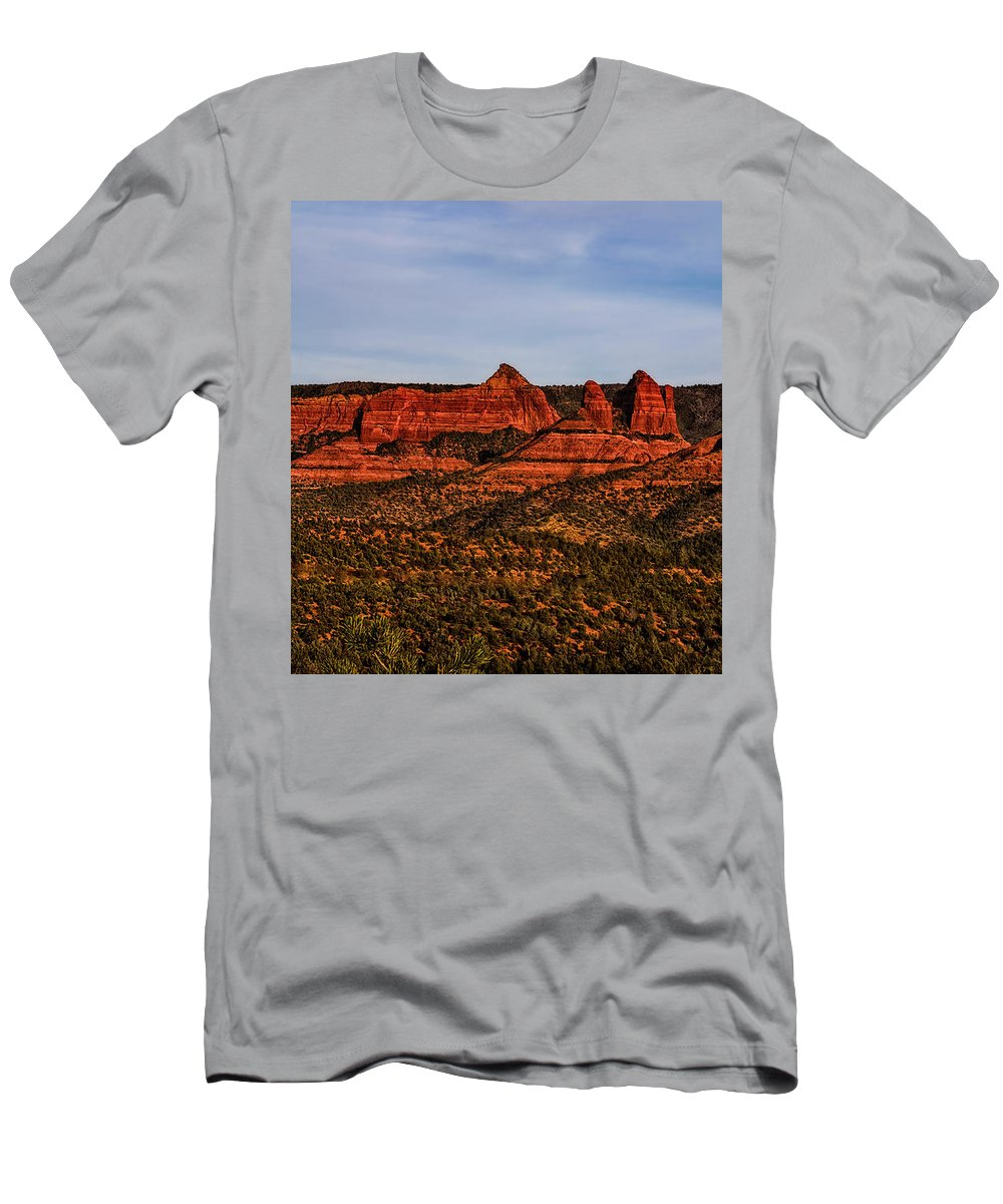 Mark Myhaver Photography Men's T-Shirt (Athletic Fit) featuring the photograph Red Rock Peaks 23 by Mark Myhaver