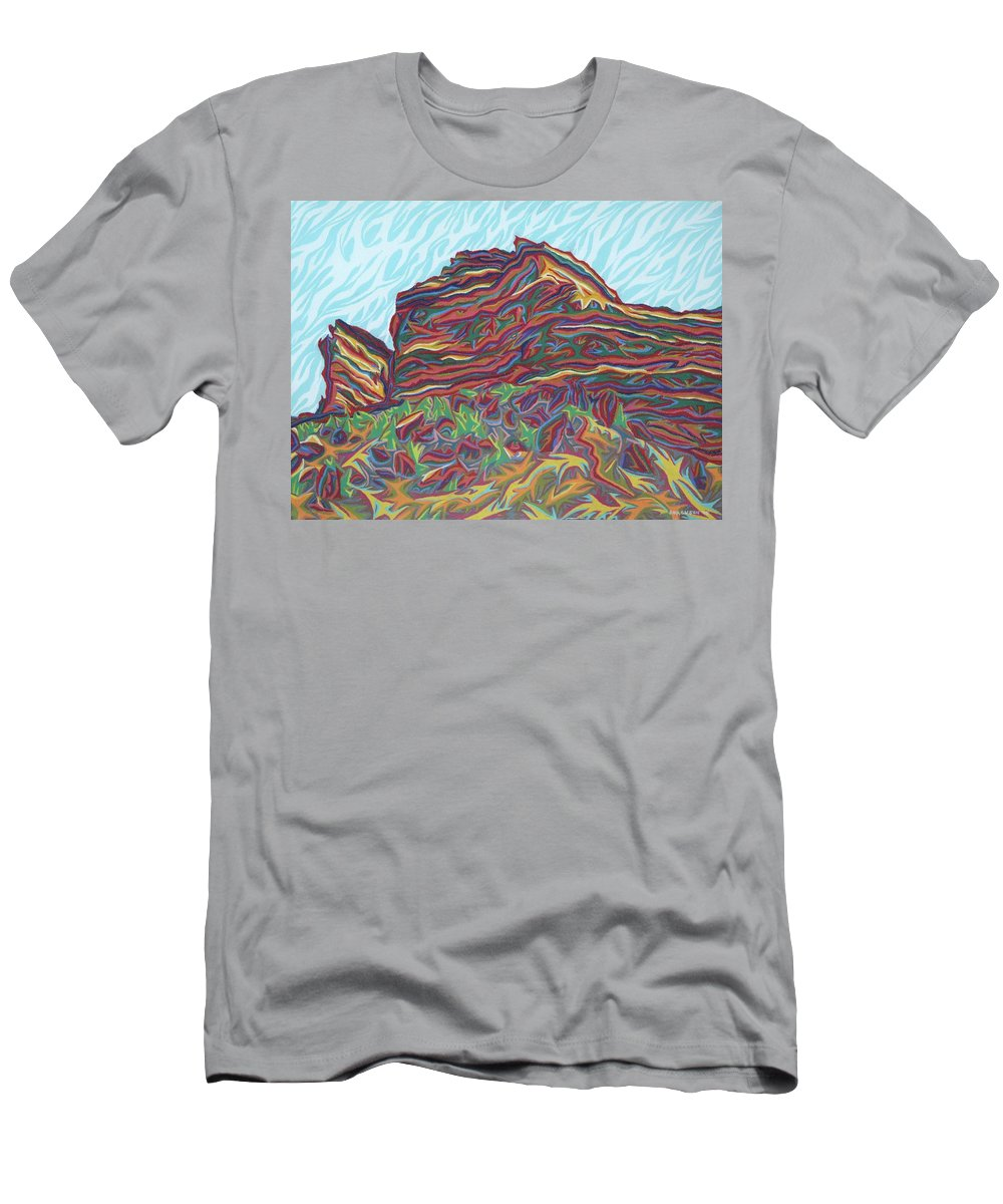 Far West Men's T-Shirt (Athletic Fit) featuring the painting Red Rocks by Robert SORENSEN