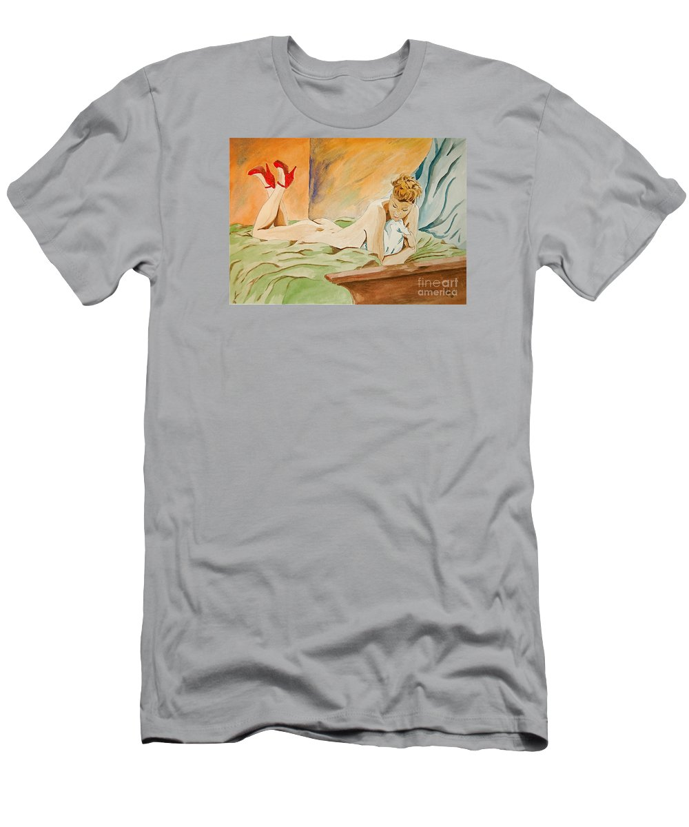 Nude Men's T-Shirt (Athletic Fit) featuring the painting Red Shoes by Herschel Fall