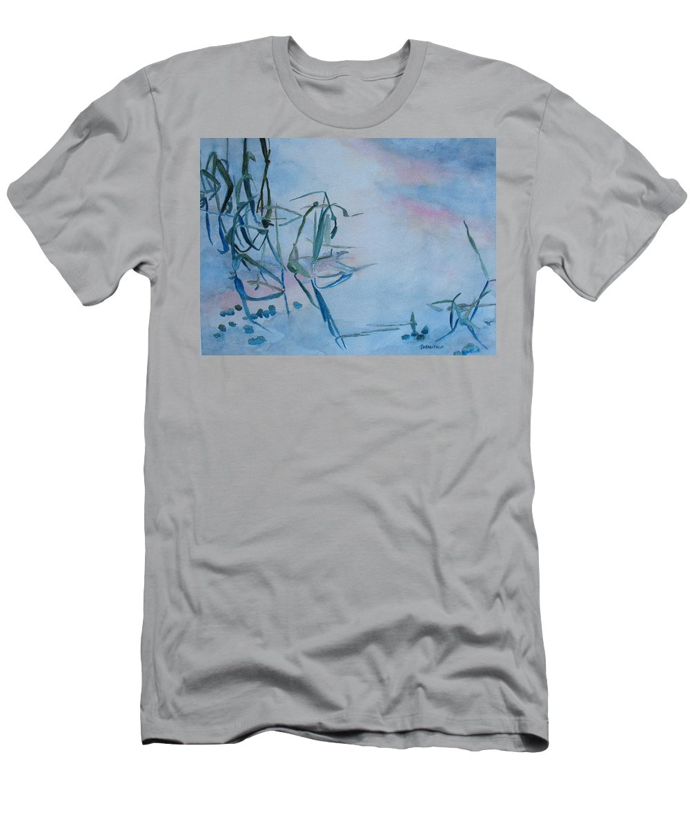 Reeds Men's T-Shirt (Athletic Fit) featuring the painting Reeds At Sunset by Jenny Armitage