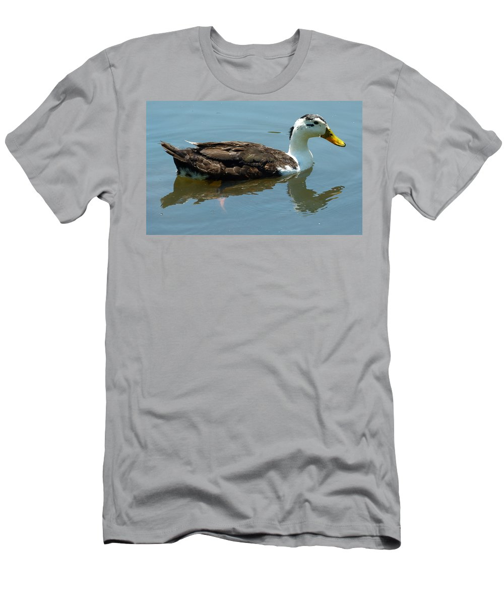 Duck Men's T-Shirt (Athletic Fit) featuring the photograph Reflecting Duck by Richard Bryce and Family