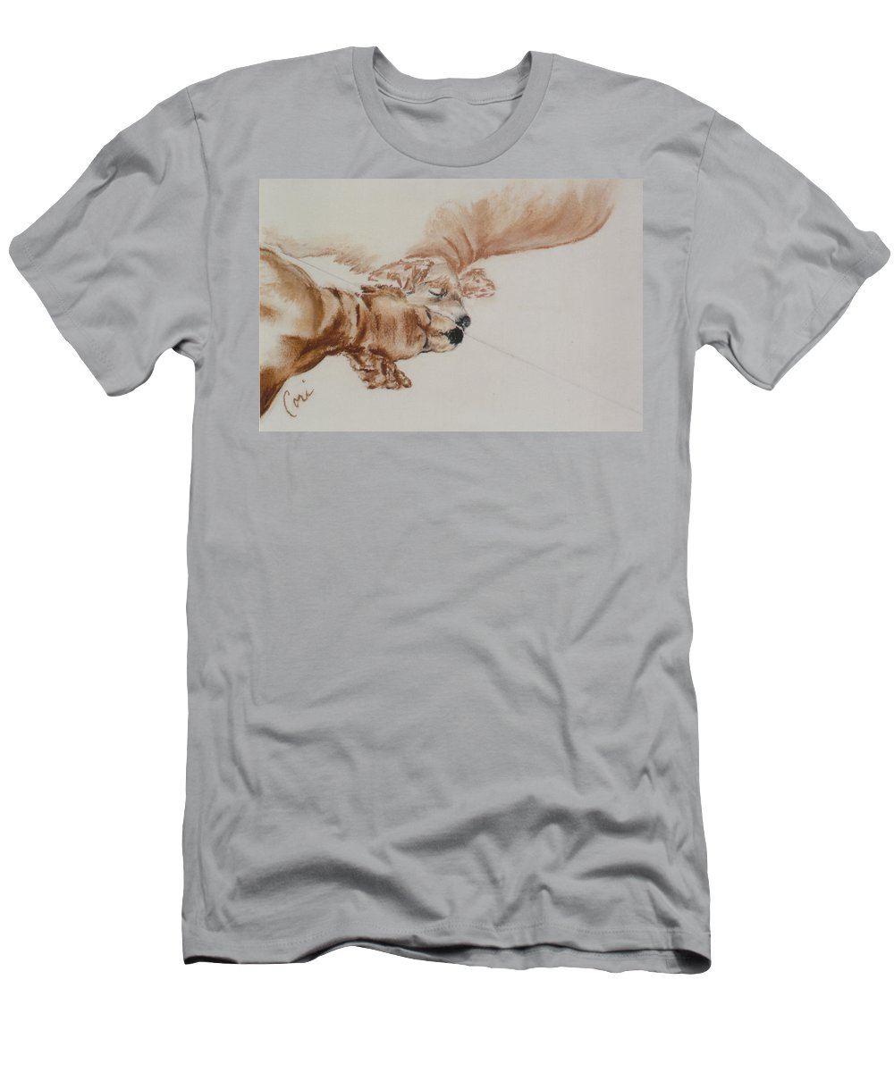 Cocker Spaniel Men's T-Shirt (Athletic Fit) featuring the drawing Reflections Of The Day by Cori Solomon