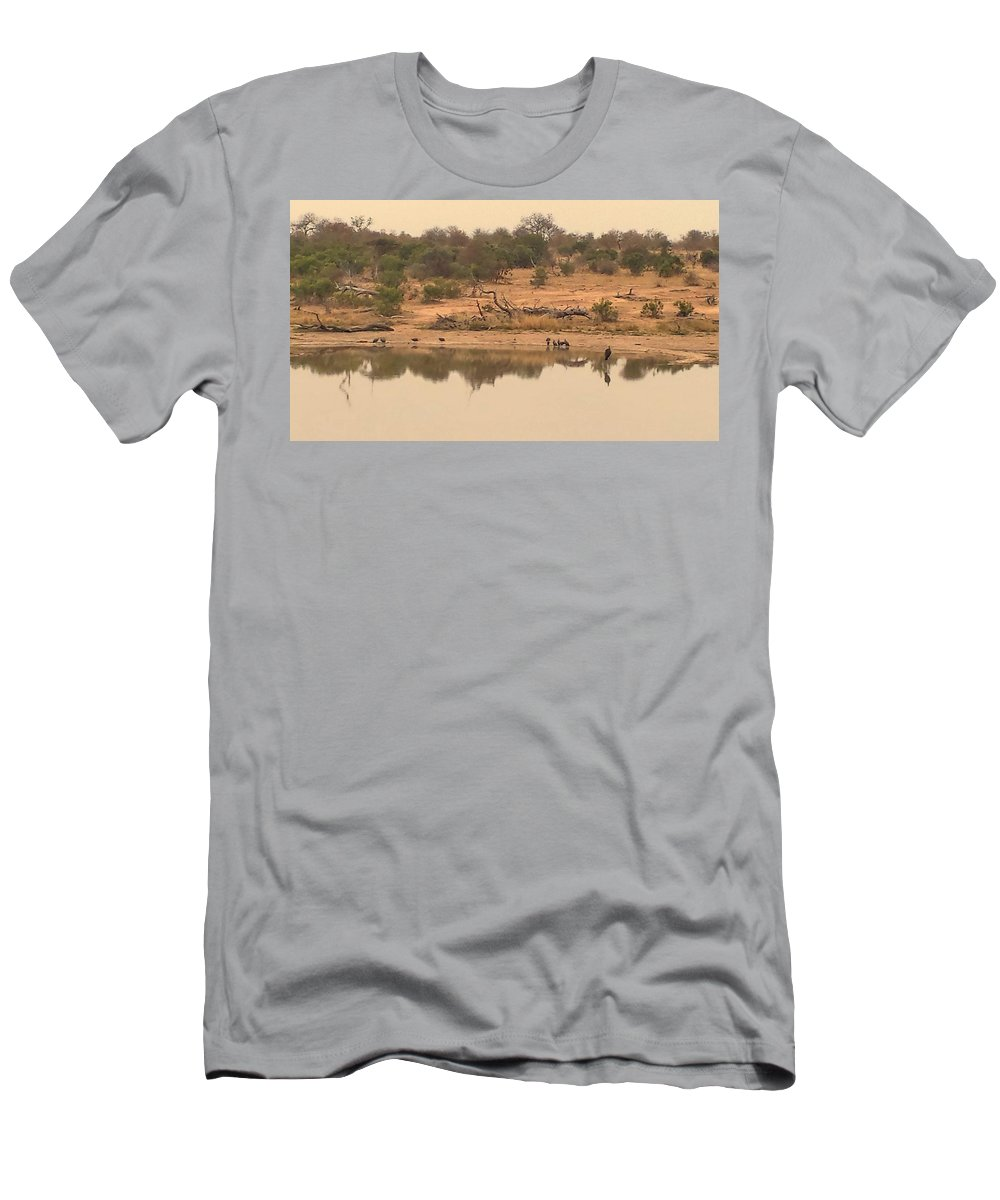 Water Men's T-Shirt (Athletic Fit) featuring the photograph Reflections On Safari by Lisa Byrne