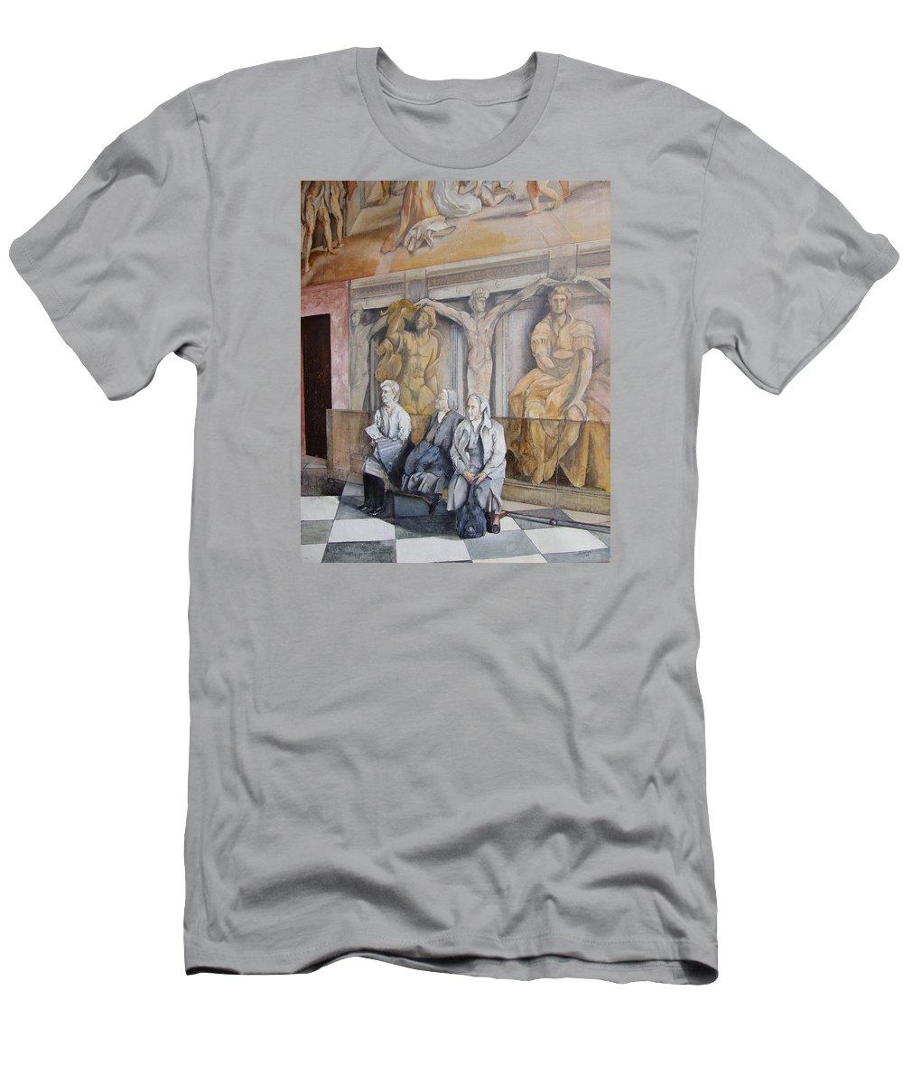 Vaticano Men's T-Shirt (Athletic Fit) featuring the painting Reposo En El Vaticano by Tomas Castano