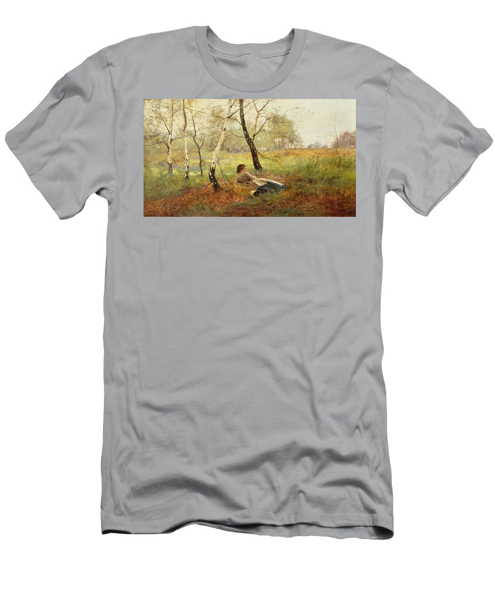 Resting (oil On Canvas) By Benjamin D. Sigmund (fl.1880-1904) Men's T-Shirt (Athletic Fit) featuring the painting Resting by Benjamin Sigmund