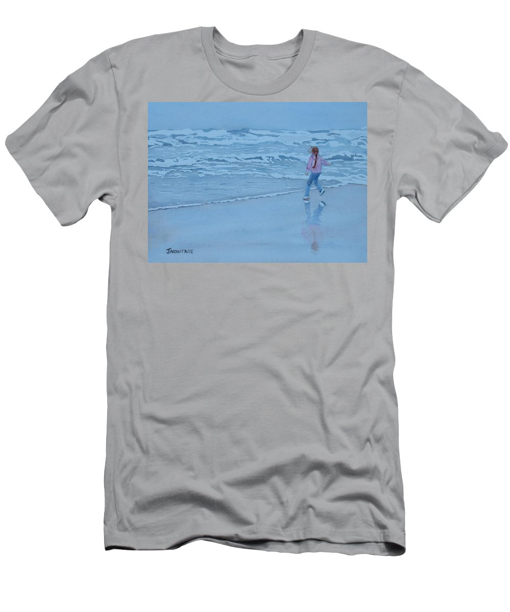Ocean Men's T-Shirt (Athletic Fit) featuring the painting Retreat by Jenny Armitage