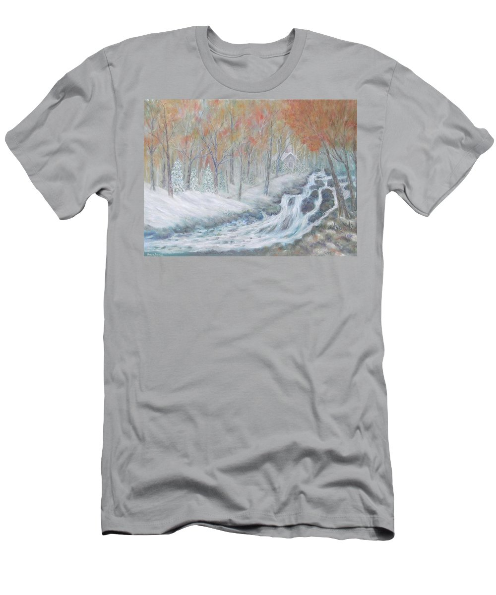 Snow; Landscape; Church Men's T-Shirt (Athletic Fit) featuring the painting Reverence by Ben Kiger