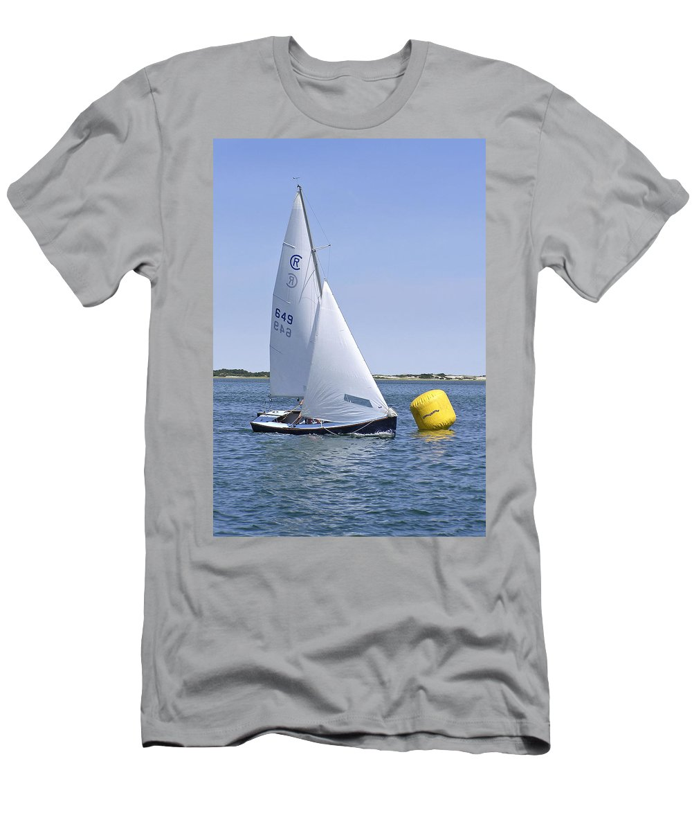 Rhodes Men's T-Shirt (Athletic Fit) featuring the photograph Rhodes 18 Rounding The Mark by Charles Harden