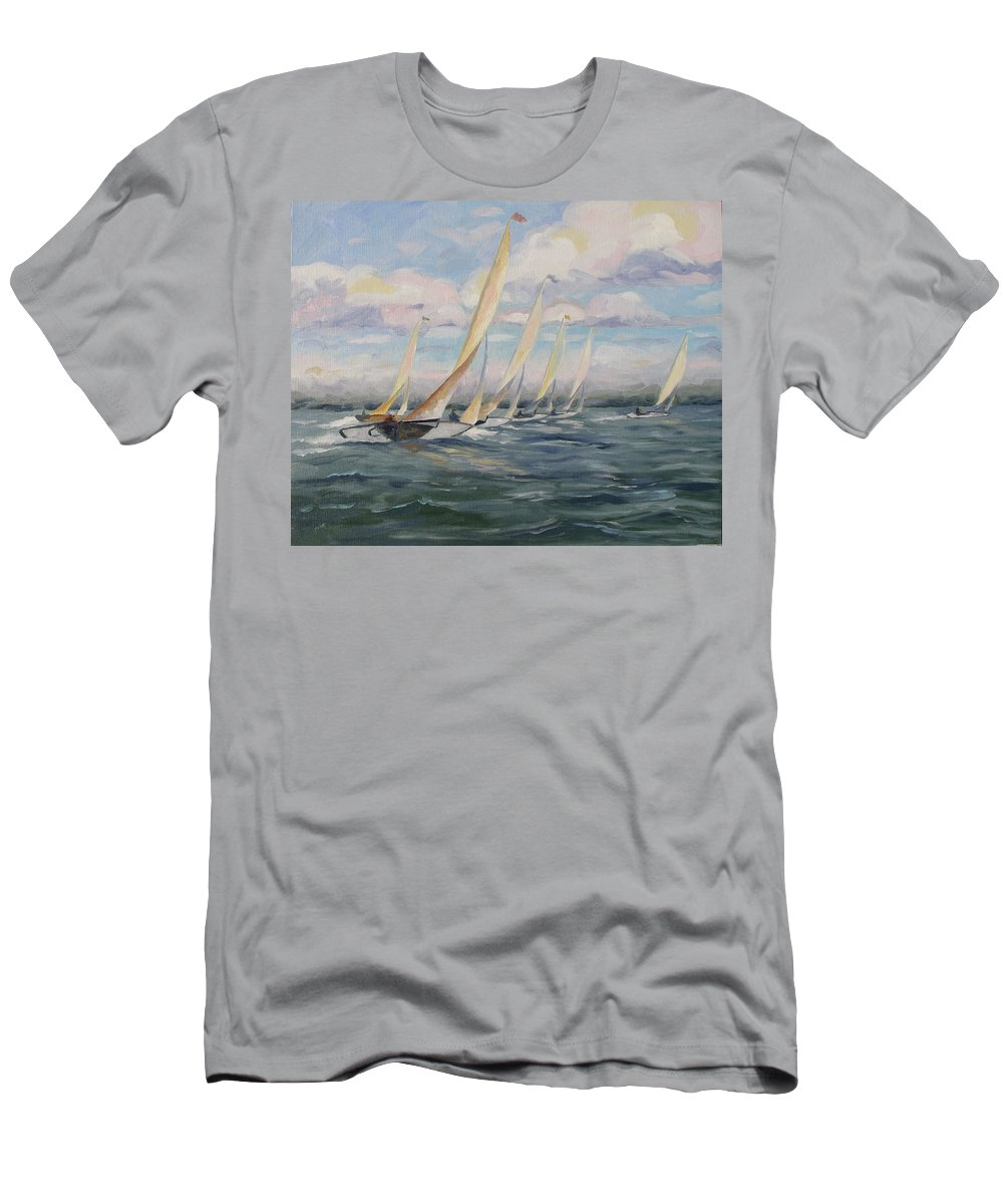 Riding Waves Men's T-Shirt (Athletic Fit) featuring the painting Riding The Waves by Jay Johnson