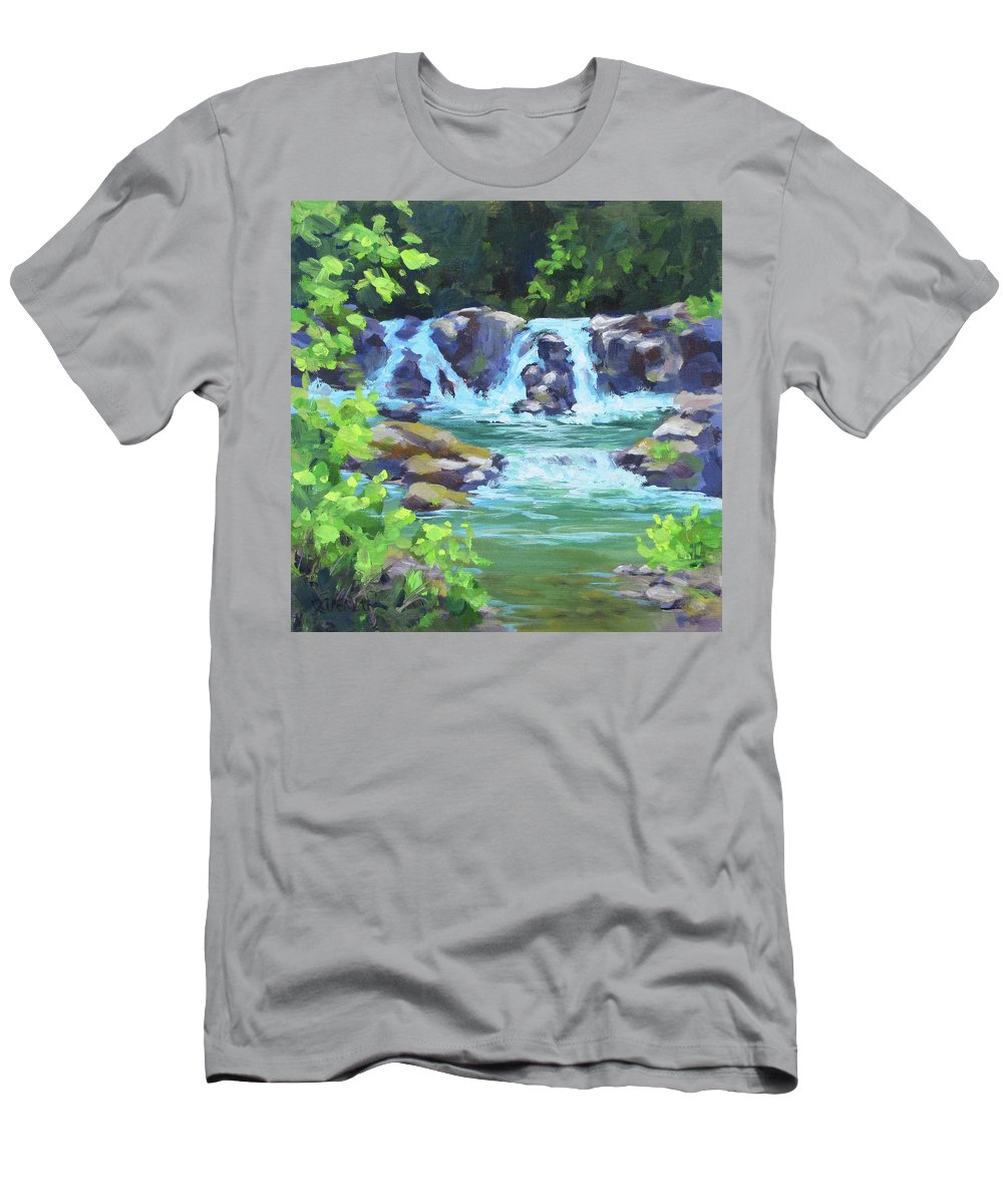River T-Shirt featuring the painting River Falls by Karen Ilari