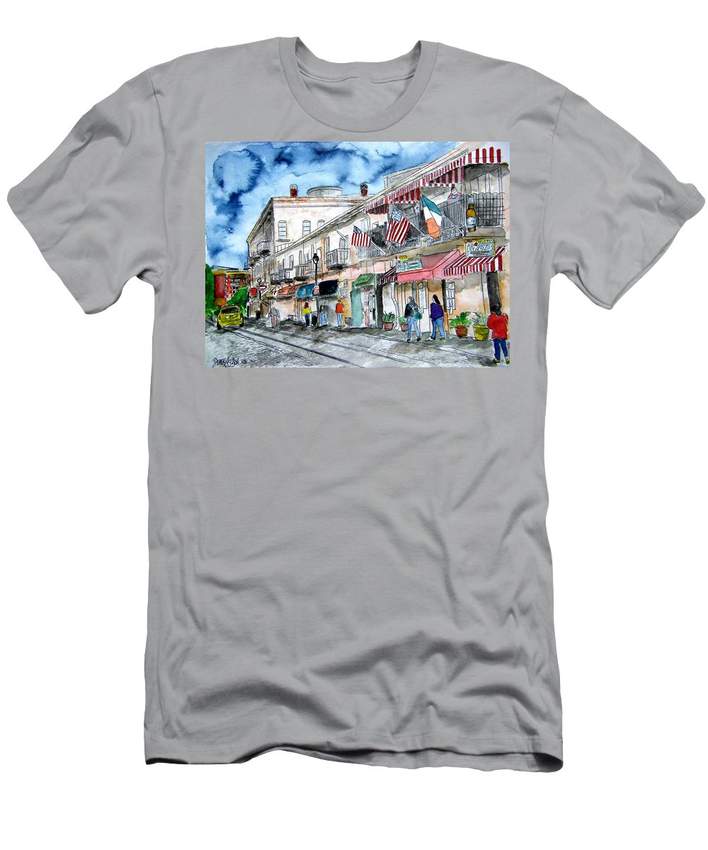 Savannah Men's T-Shirt (Athletic Fit) featuring the painting River Street Savannah Georgia by Derek Mccrea