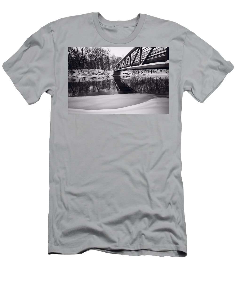 Bridge Men's T-Shirt (Athletic Fit) featuring the photograph River View B And W by Steve Gadomski